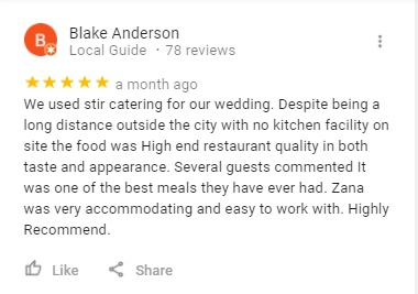 Review For Stir Catering From Google